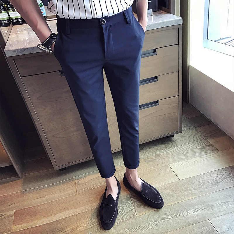 2019 夏カジュアルパンツ綿無地メンズ足首までの NineTrousers スリムフィットスーツ男性の白スーツのズボン