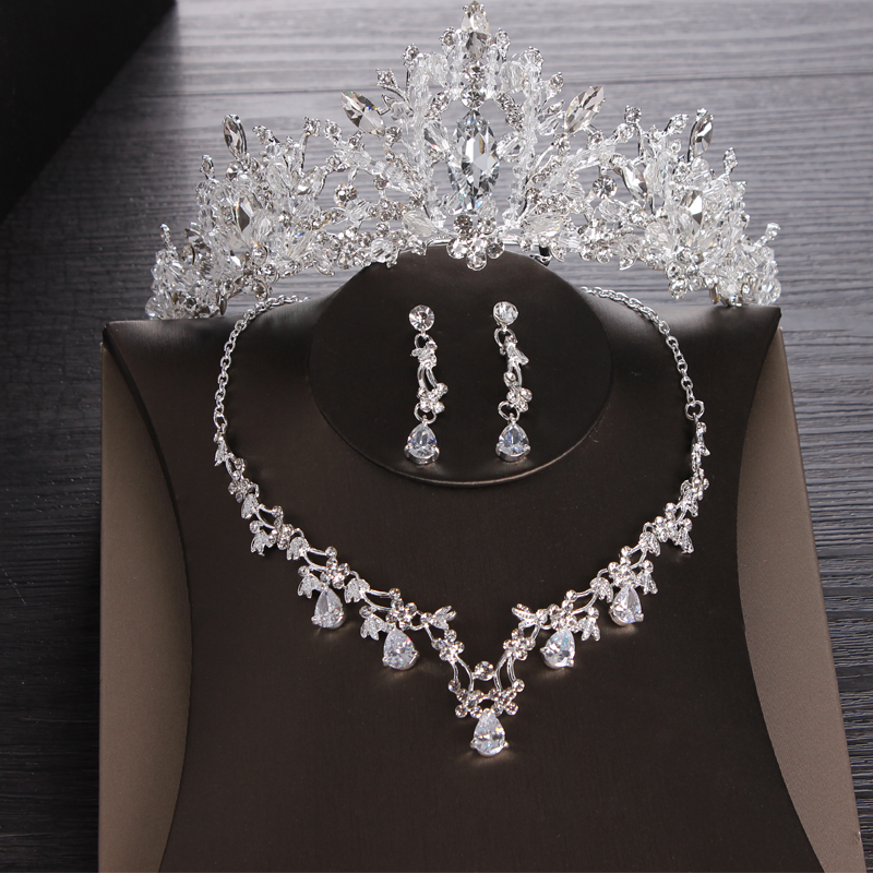 Luxury Heart Crystal Bridal Jewelry Sets Wedding Cubic Zircon Crown Tiaras Earring Choker Necklace Set African Beads Jewelry Set(China)