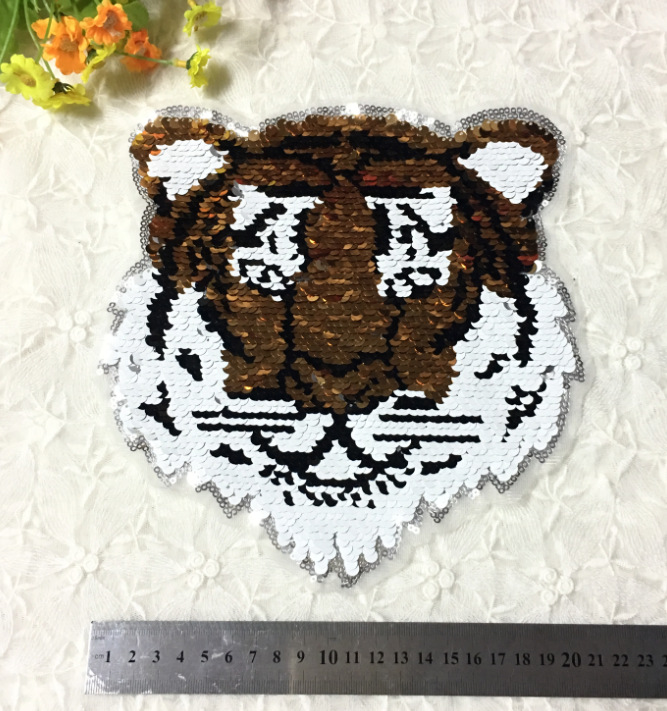 1pcs Panda Tiger Reversible Change Sequins Sew On Patches For Clothes Kids Boy Girl T Shirt Coat Reverse Patch Applique Rock & Pop