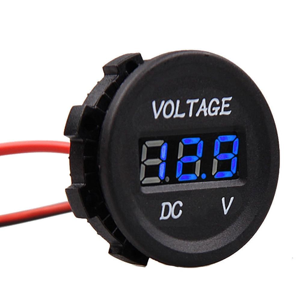 LED Digital Voltmeter Bule LED Car Gauge measure DC 12V to 24V voltage short circuit protection for Car Automobile Motorcycle