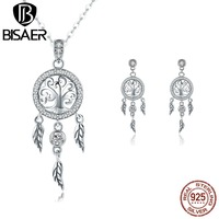BISAER Classic 925 Sterling Silver Original Tree In Hoop Three Leaf Necklace & Stud Earring For Women Jewelry Sets HPS090