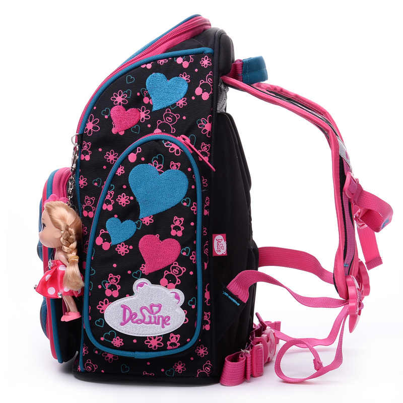 Delune Marke Kinder 3D Cartoon Bär Schule Bags Grade 3-5 Floral Orthopädische Schule Rucksäcke für Mädchen Schul 6-114 6-109