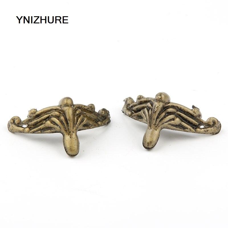 100PCS 36*28mm Antique Brass Vintage Bronze Jewelry Chest Box Wooden Case Decorative Feet Leg Plastic Material
