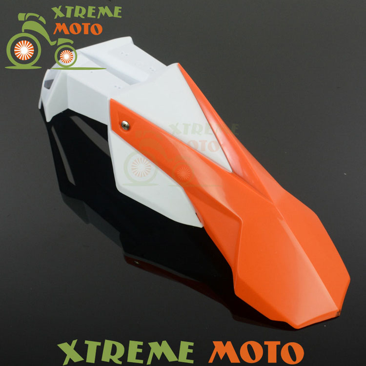 Orange+White Front Fender Mudguard For KTM EXC EXCF XC XCF XCW XCFW MX EGS SX SXF SXS SMR Motocross Enduro Supermoto Dirt Bike orange 120l chain front rear sprockets set for ktm exc excf sx sxf sxs xc xcw xcf xcfw mx mxc lc4 smr six days motocross enduro