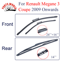 Kit Silicone Rubber Front And Rear Wiper Blades For Renault Megane 3 Coupe 2009 Onwards Windscreen