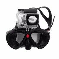 Adulte Masques de Plongée Sous-Marine Piscine De Plongée En Verre Trempé Lunettes Plein Sec Tube Snorkeling Masque Complet Sec Silicone pour Gopro