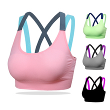 820d4d5426 Cross Strap Back Women Sports Bra Professional Quick Dry Padded Shockproof  Gym Fitness Running Yoga Sport Brassiere Tops