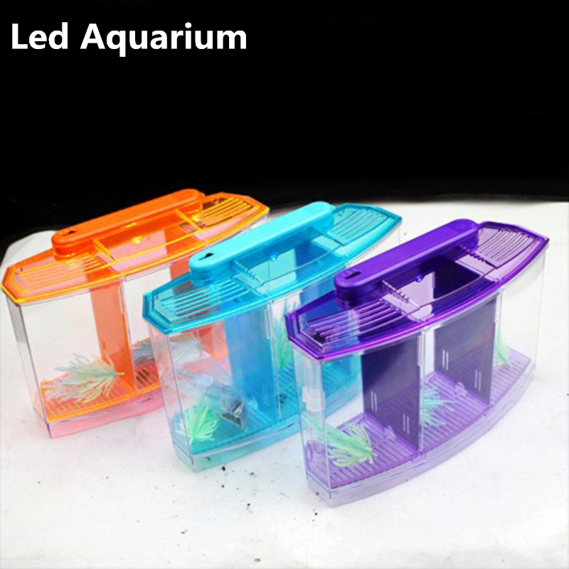 LED Light Acquario Acrilico Tre Divide Betta Pesce Scatola Serbatoio Hatch Isolamento Tripla Arco Fighting Razza Blu Viola AT007
