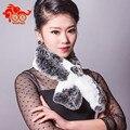 Marca de lujo 2015 nueva moda geométrica mujeres Rex Rabbit Fur bufanda envío gratis