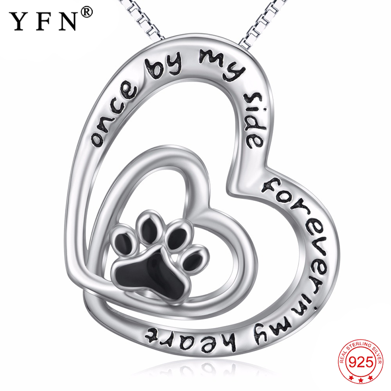2018 New 925 Sterling Silver Classic Inspiring Message Double Hearts Paw Print Pendants Necklaces Fashion Women Jewelry PYX0424
