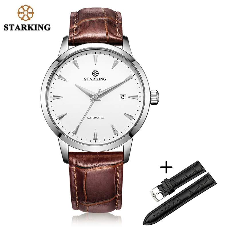 STARKING Man Wrist Watch 28800 High Beats Mechanical Movement Watch AM0184 Black Leater Band Set Sapphire Crystal Clock