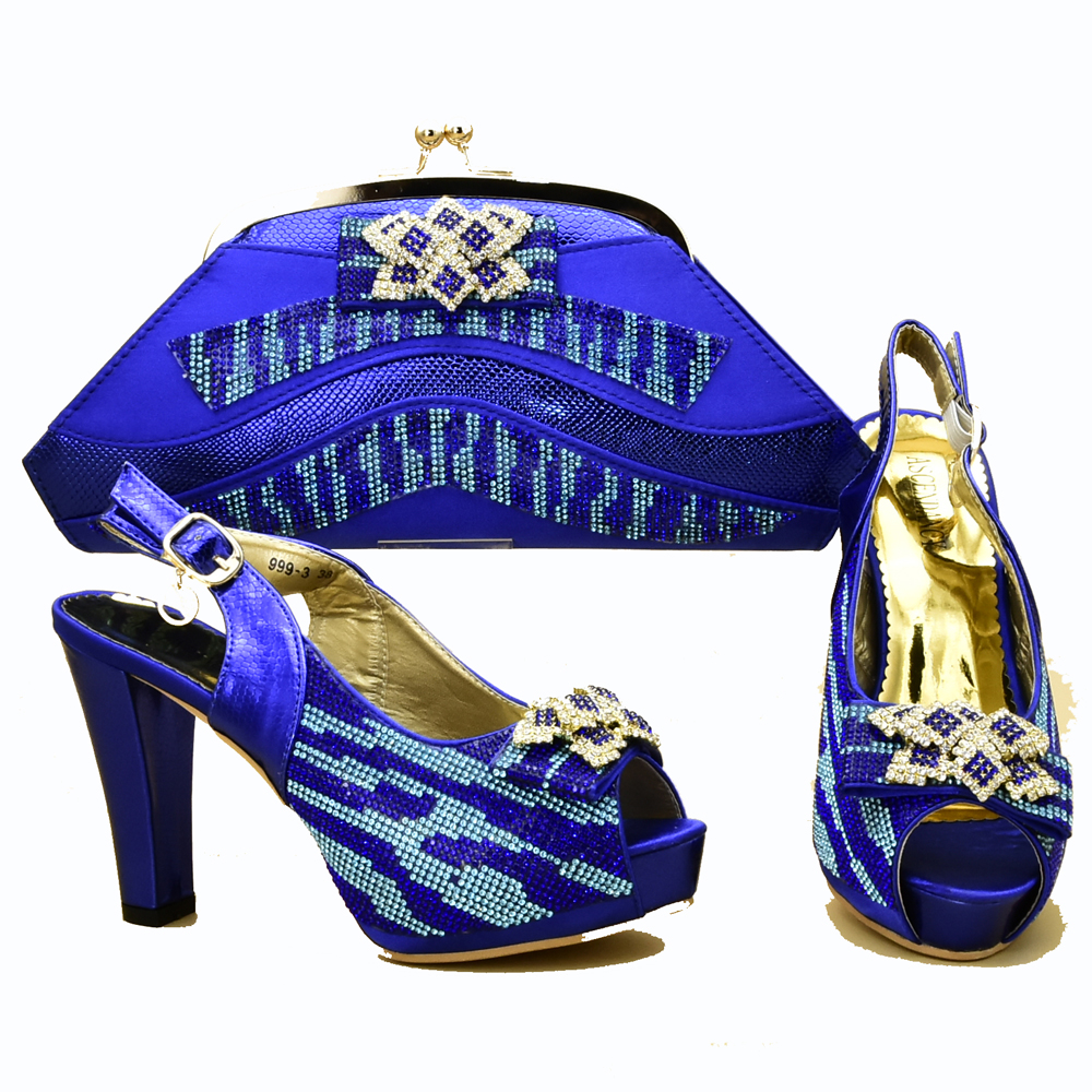 Stones royal blue italy design shoes and bag matching set for african lace dress aso ebi party shoes and bag set SB8320-3Stones royal blue italy design shoes and bag matching set for african lace dress aso ebi party shoes and bag set SB8320-3
