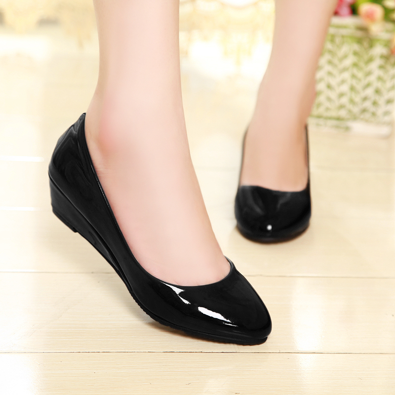Women Wedges Heels Cheap Pointed Toe Low Heels Summer Spring Heel Womens Shoes Black ...