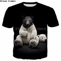 PLstar Cosmos 2018 Summer New Fashion Original T Shirt Animal Funny Black Bear Tortoise Owl Tiger