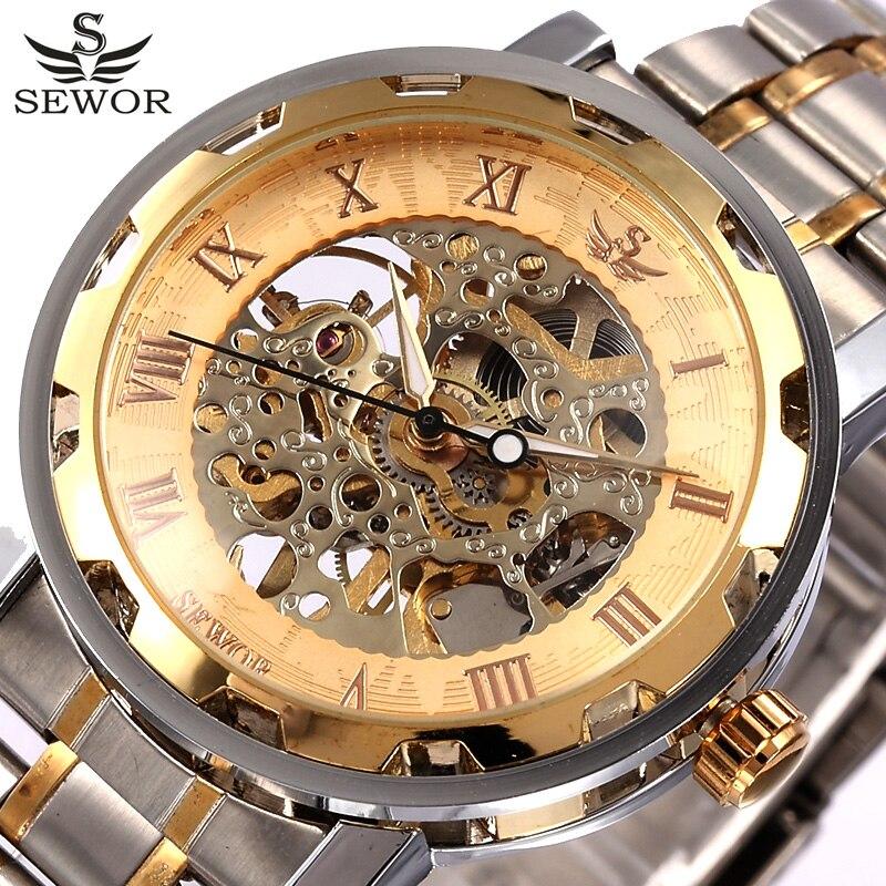 Mechanical Watch Men Male Wristwatch Top Luxury Brand SEWOR Gold Men Skeleton Watch Transparent Full Steel Men Watch Relogio цена и фото