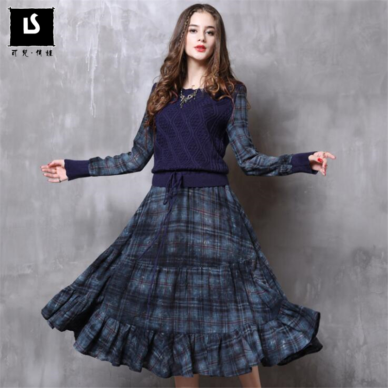 Spring Autumn New Women Vintage Dress Long Sleeve Plaid print length Dress Ladies Loose Casual Knitted