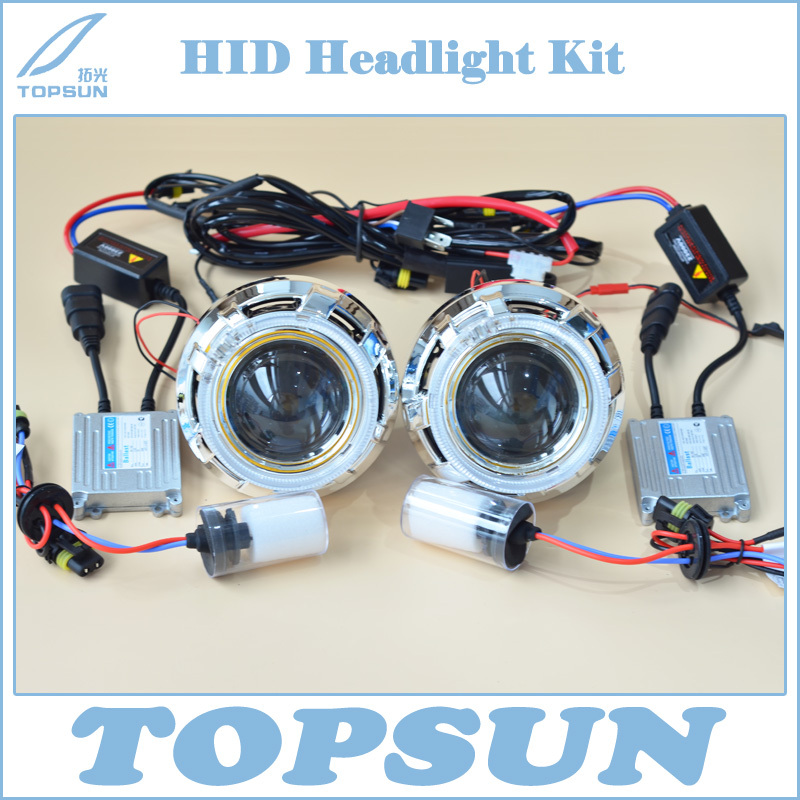 Car Light Kit H4 Projector Lens 3 Inch Q5 Koito Bifocal, 35W HID Bulb D2H, Ballast, Optic Angel Eyes, Shroud and Control wire