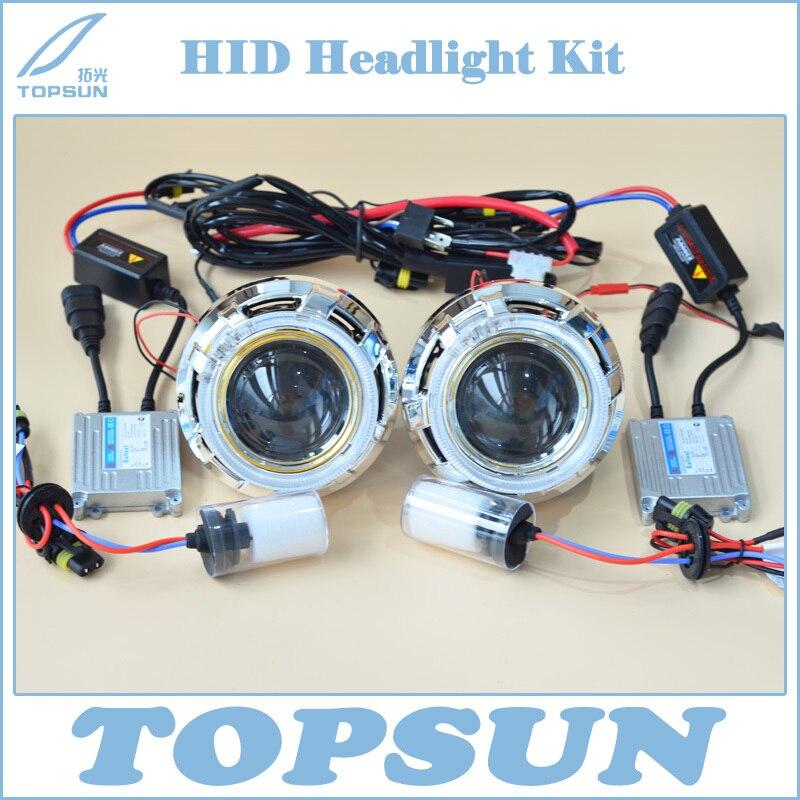 Car Light Kit H4 Projector Lens 3 Inch Q5 Koito Bifocal, 35W HID Bulb D2H, Ballast, Optic Angel Eyes, Shroud and Control wire