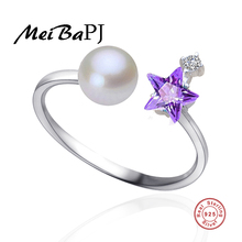 [MeiBaPJ]925 silver freshwater pearl ring adjustable star finger pearl Micro mosaic ring jewelry for women gift box
