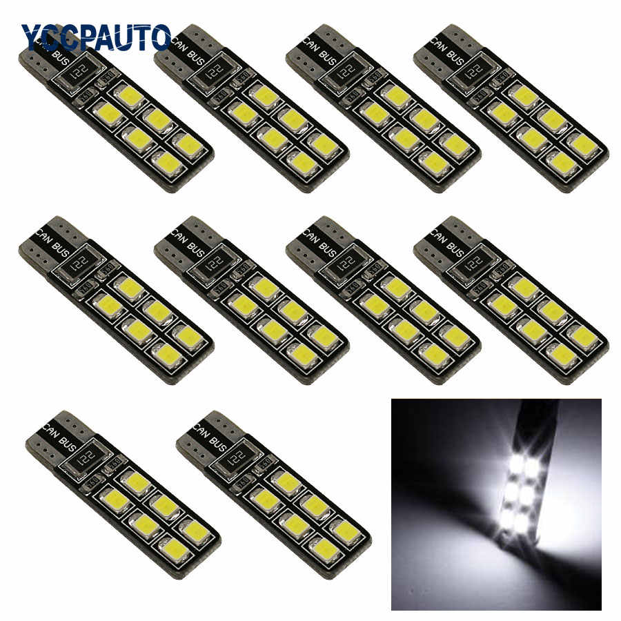 T10 W5W Car LED Lights CANBUS 12 Leds 3528 SMD White Red Ice Blue Lights ERRO FREE 194 168 2825 Bulb Lamp 10PCS/LOT New
