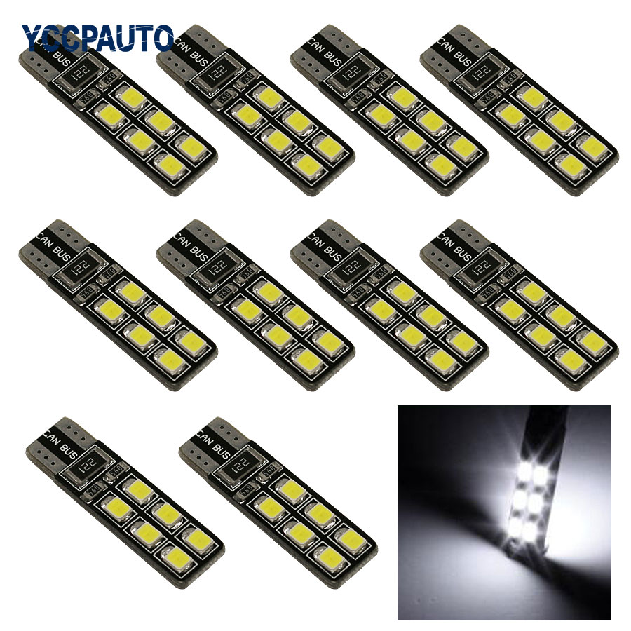 T10 W5W Car LED Lights CANBUS 12 Leds 3528 SMD White Red Ice Blue Lights ERRO FREE 194 168 2825 Bulb Lamp 10PCS/LOT New flytop 10 x t10 canbus 5smd 5050 smd error free car bulb w5w 194 led lamp auto rear light white blue yellow red color can bus