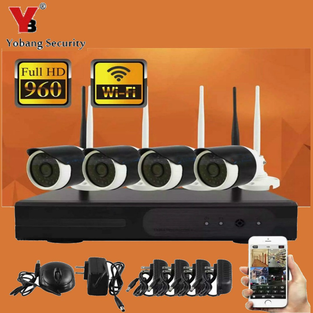 Yobang Security 4CH WIFI Wireless Outdoor IP Camera NVR Kit 960P Home Video Surveillance HD Wireless CCTV Security Camera System