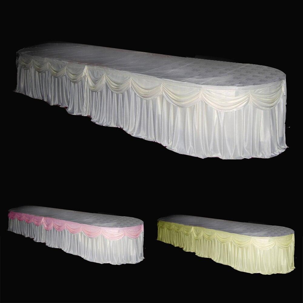 Personnalisé De Luxe En Soie de Glace Tissu 10ft/24ft x 29 ''Table Jupe De Couverture Avec Le Butin Pour Banquet De Mariage Événement partie Decoration-L2