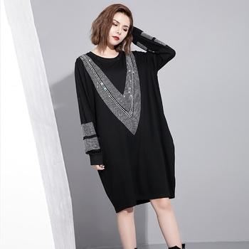 Round Neck Black Loose Long Sleeve Dress Apparels Autumn Clothing Spring Winter Women Color: Black Size: One Size
