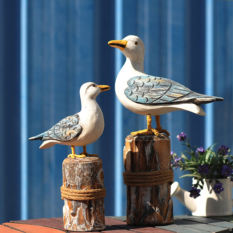 A Pair Of Seagulls Standing On A Pillar Statue Aanimal Figurine Sculpture For Home Decorations Attic Wood Ornaments GiftsA Pair Of Seagulls Standing On A Pillar Statue Aanimal Figurine Sculpture For Home Decorations Attic Wood Ornaments Gifts