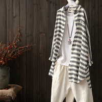 Women Autumn Striped Loose Cotton And Linen Shirt Female Long Sleeve Cardigans Jackets Ladies Blouse Sunscreen