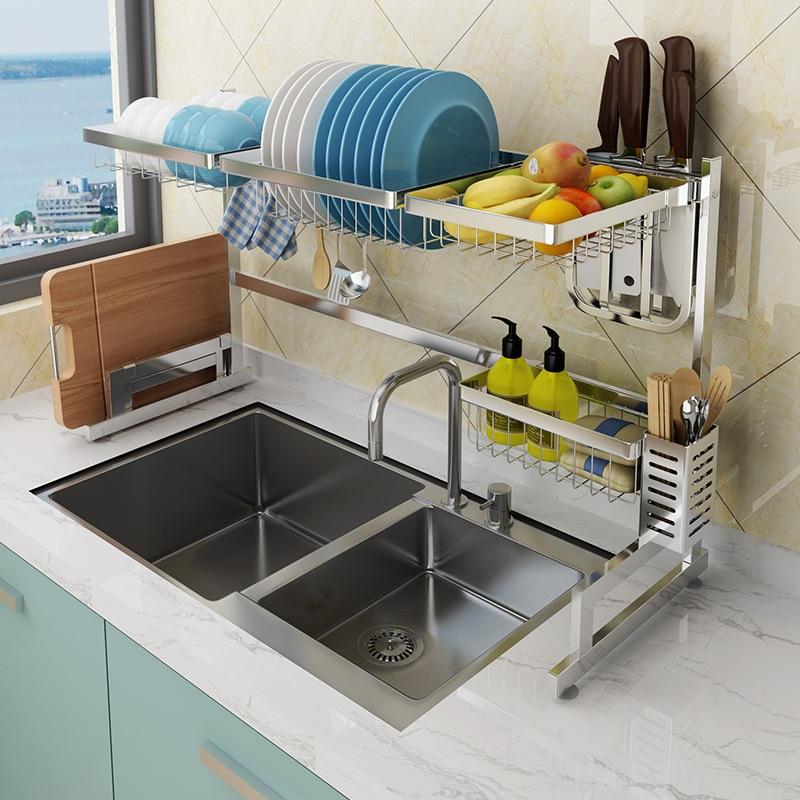 US $150.0 40% OFF|304 Staineless Steel Kitchen Dish Rack Kitchen Sink Drain  rack Storage Shelf Home Organizer kitchen sink organizer-in Racks & ...