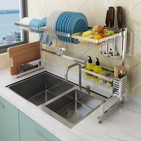 304 Staineless Steel Kitchen Dish Rack Kitchen Sink Drain rack Storage Shelf Home Organizer kitchen sink organizer