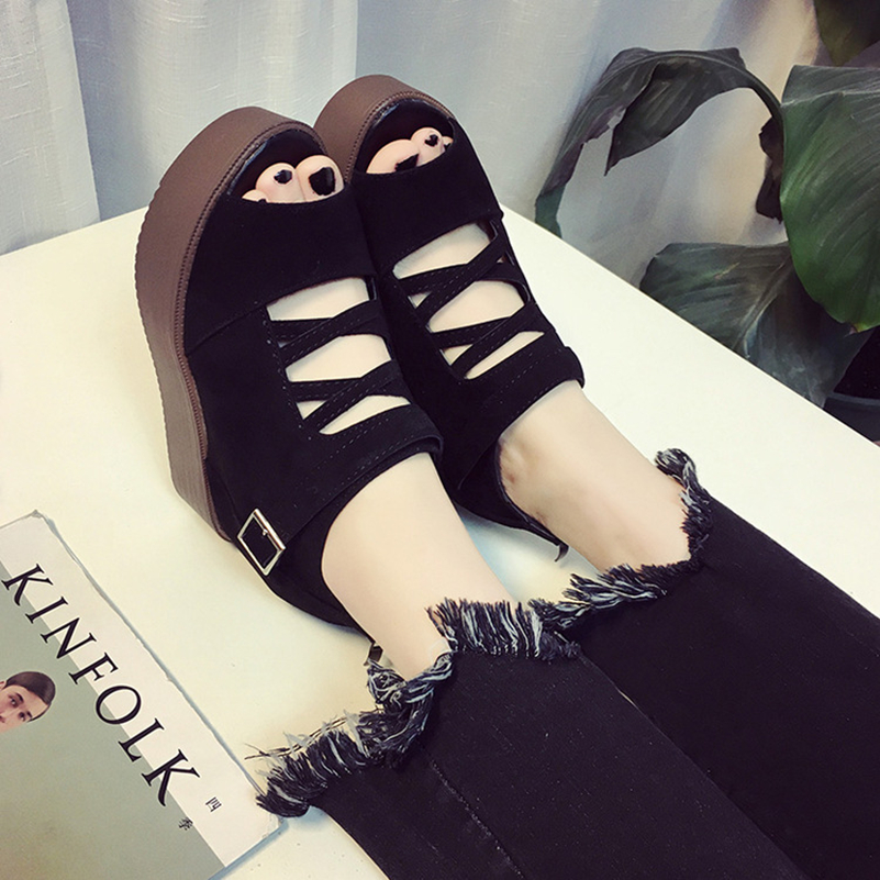 Wedges Gladiator Sandals Sexy Open toe Women 2017 High Heels Platform Black Sandals Summer Style Women's Shoes Woman Size US 8 phyanic 2017 gladiator sandals gold silver shoes woman summer platform wedges glitters creepers casual women shoes phy3323