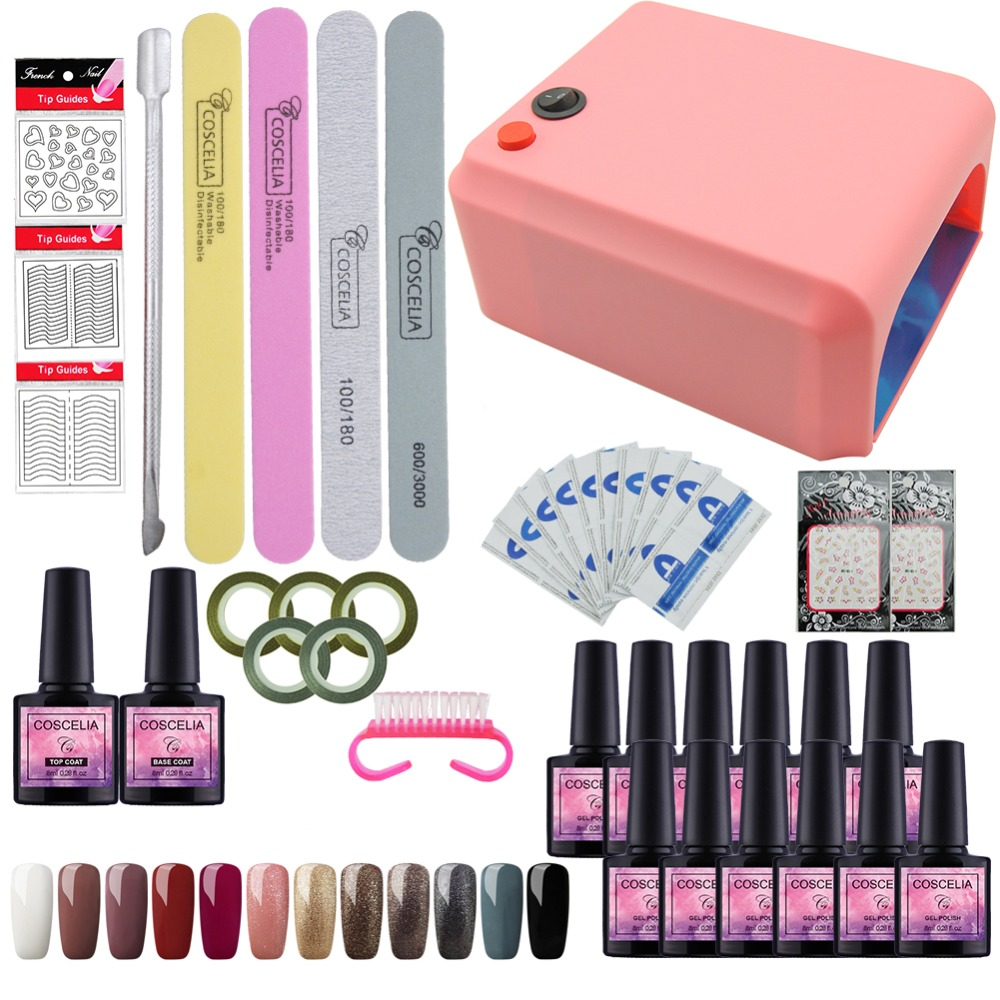Nail Set 36w UV LED Lamp dryer 12 Color Soak Off Nail Gel Polish Varnish Nail Polish Top Base Coat Manicure Tools Set Nail Kit 12pcs lot ibcccndc nail gel polish soak off nail lacquer shining colorful uv led lamp 7 3ml nail varnish 79 colors base top coat