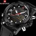 Homens esporte relógios naviforce marca duplo mostrador do relógio led digital analógico relógio de pulso de couro relógio de quartzo 30 m à prova d' água