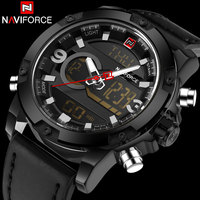 Mannen Sport Horloges NAVIFORCE Merk Dual Display Horloge LED Digitale Analoge Horloge Lederen Quartz-Horloge 30 M Waterdicht Horloges
