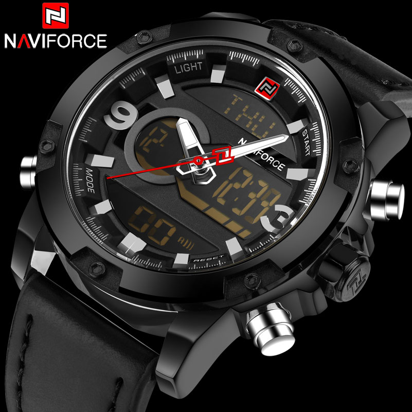 Men Sport Watches NAVIFORCE Brand Dual Display Watch LED Digital Analog Watch Leather Quartz-Watch 30M Waterproof Wristwatches 2014 high quality new inventions crystal magic mirror lightbox led