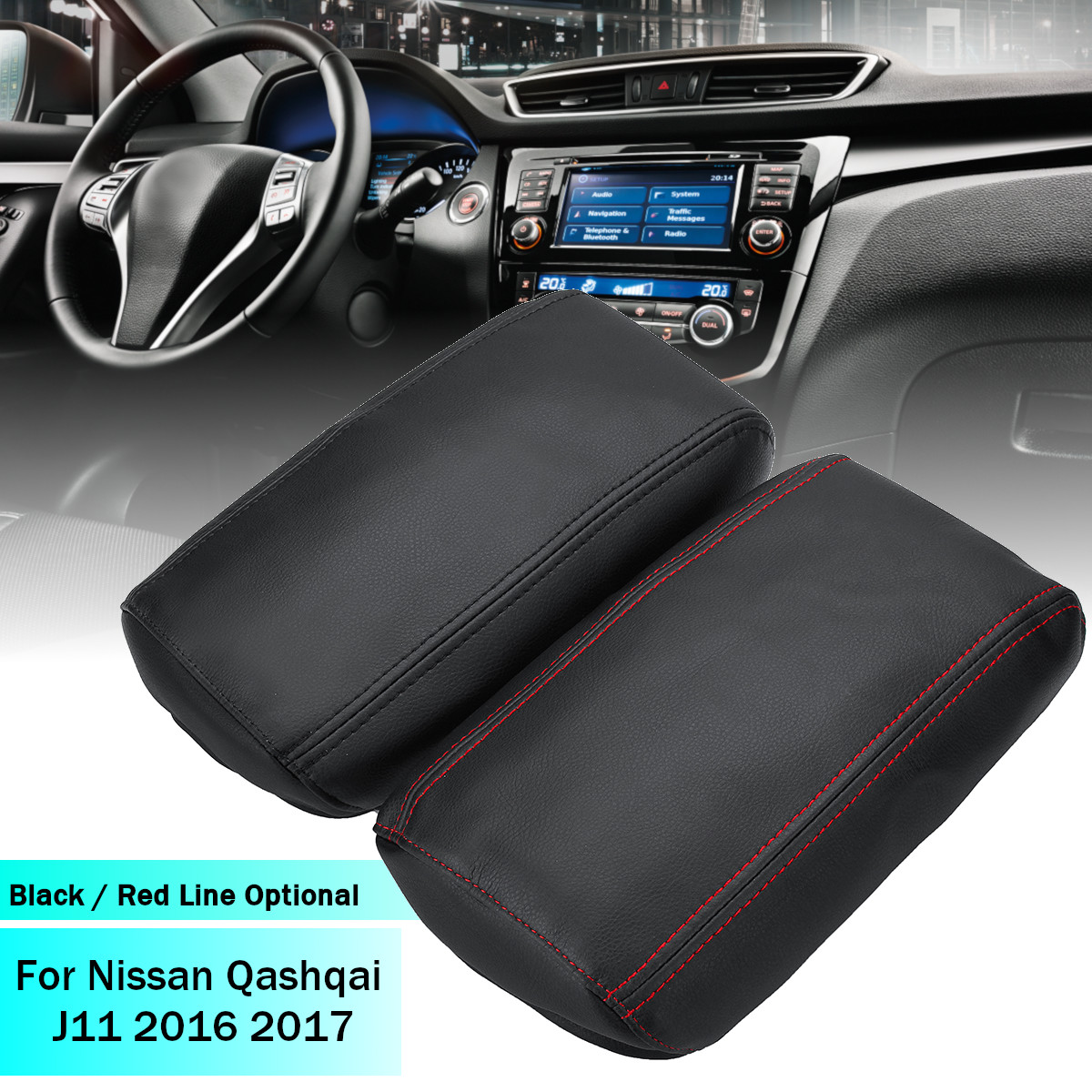 Car Central Armrest Box Protective Cover Artificial Leather Covers For Nissan Qashqai J11 2016 2017 2018