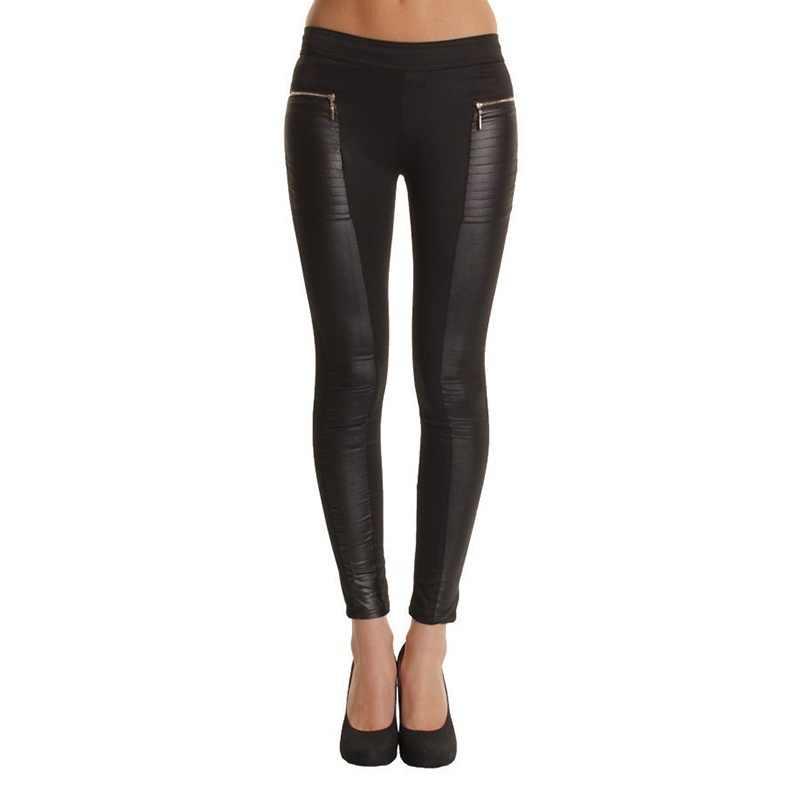 Весна, лето, осень мода Стиль Для женщин пикантные качественные ботинки из искусственной кожи, размеры 34–43 Брюки Тощий Лоскутная легинсы с молнией черный