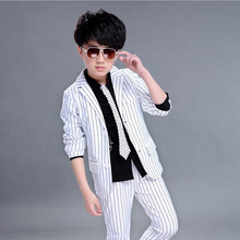 Dollplus Boys Solid Suits 2PCS Wedding Black and White Striped England Style Gentle Boys Formal Suit Children Spring Clothing