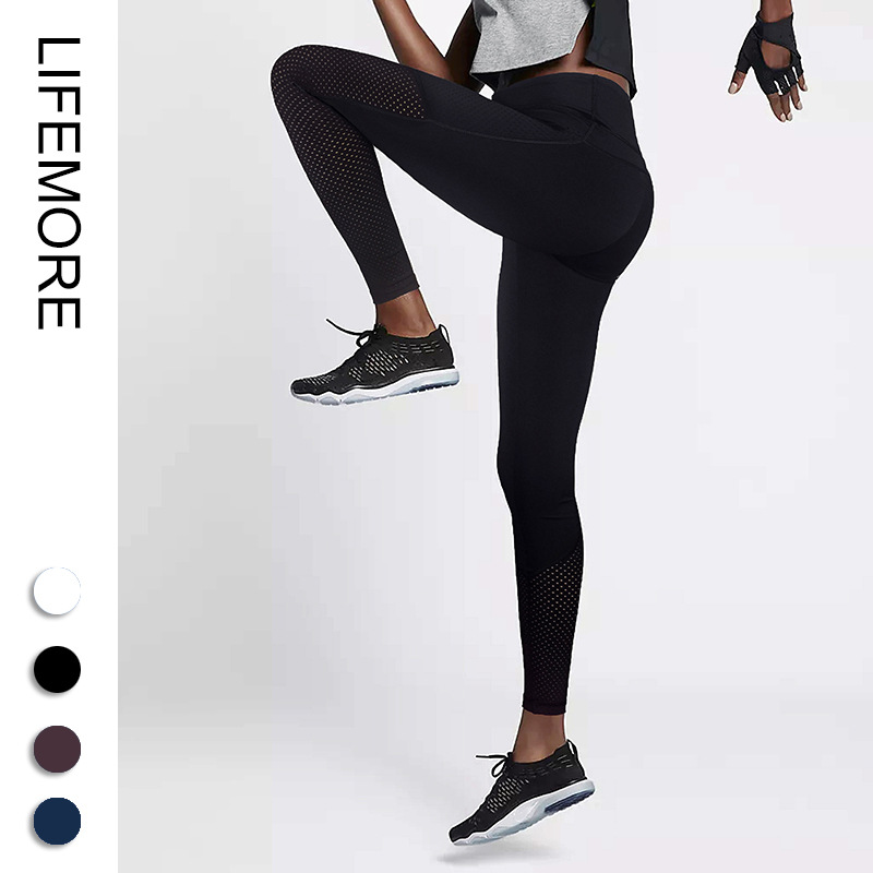 Yoga Pants Womens Fitness High Elasticity Quick Drying Waist Hip Tights Running Trousers
