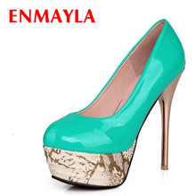 ENMAYER Black Red Beige Green  New Sexy High Heel Shoes Glitter Wedding Party Pumps For Lady Size 34-43 2014 new design lady shoes and bags set for wedding high quality italian with stone size 38 43 no 1308t05 green color