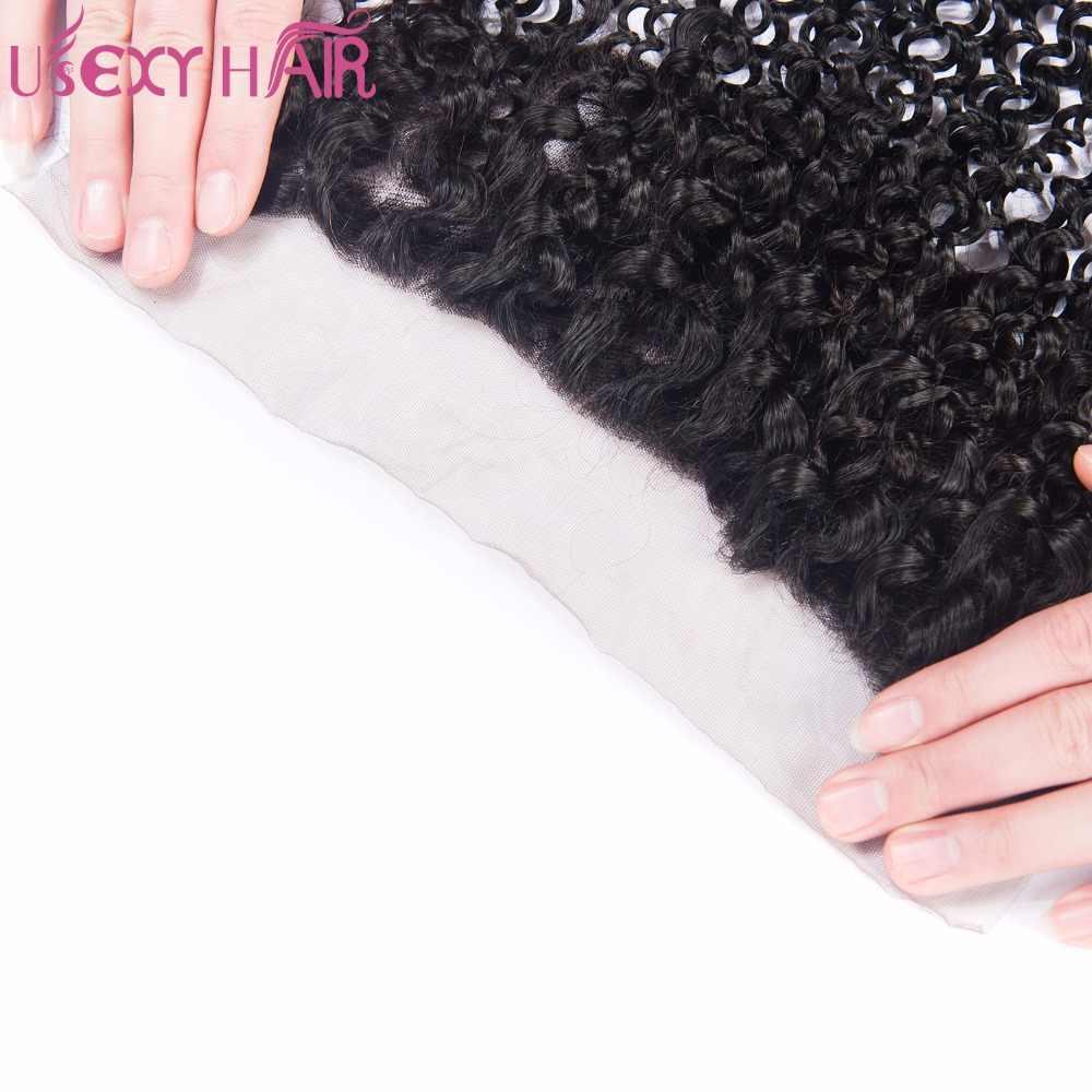 USEXY пучки волнистых волос с фронтальным закрытием уха до уха Кружева Фронтальные с пучками Remy человеческие волосы пучки с фронтальной