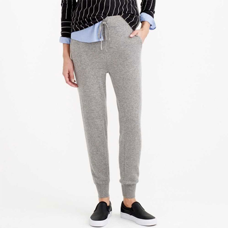 2018 Fashion Women Winter Pants Solid Color 100% Pure Cashmere Ankle-length Super Warm Keeping Leggings With Elastic Waist Belt