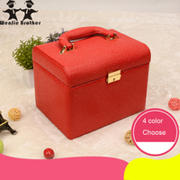 Wenjie Brother2017 Hot Selling Make Up Box With Mirror Makeup Case Beauty Case Cosmetic Bag Lockable