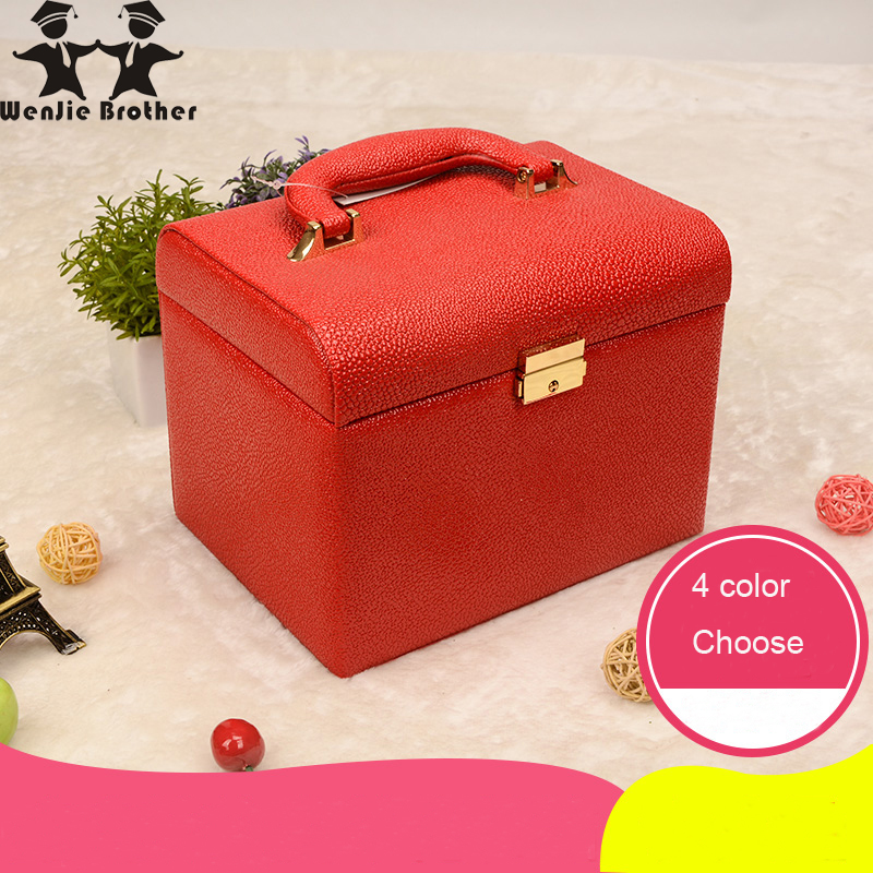 wenjie brother2017 hot selling Make up Box with mirror Makeup Case Beauty Case Cosmetic Bag Lockable Jewelry Box for ladys gift