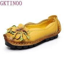 جديد الخريف الزهور اليدوية أحذية المرأة الأزهار لينة أسفل الأحذية المسطحة عارضة الأحذية الأخفاف النساء الرجعية حقيقية أحذية من الجلد