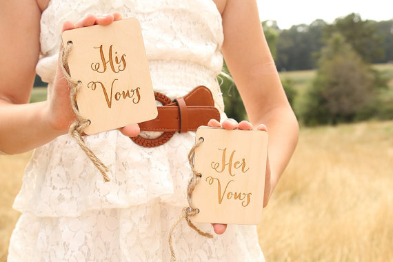 His And Her Gifts For Wedding: Custom Wedding His Her Rustic Wood Vow Book Set His And