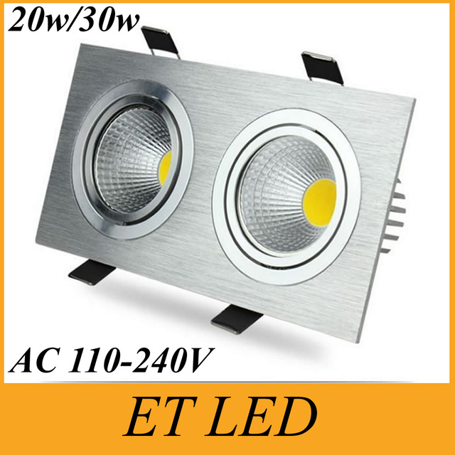 Square 20w 30w led recessed ceiling lights dimmable led downlight square 20w 30w led recessed ceiling lights dimmable led downlight double heads cob led down lights aloadofball Gallery