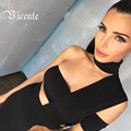 2016 New Free Shipping Elegant Choker Top Design Inspired Tube Midi Length HL Party Celebrity Bandage Dress